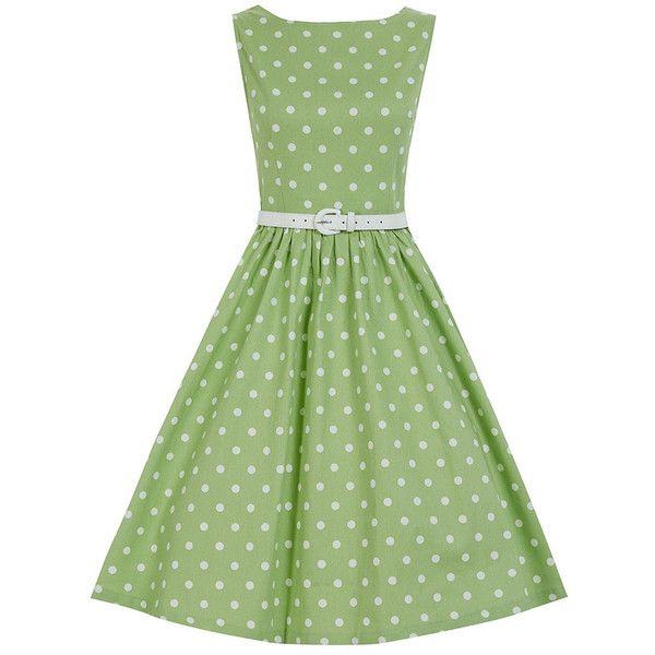 Audrey Tarragon Polka Swing Dress | Vintage Style Dresses