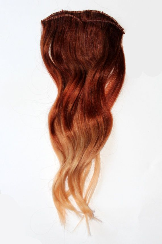 "Clip In Hair Extensions, Ombre Auburn Red to Blonde, Half Head, 18"" Human Hair.....thinking I might go this route for my ombré look until hair gets long enough!"