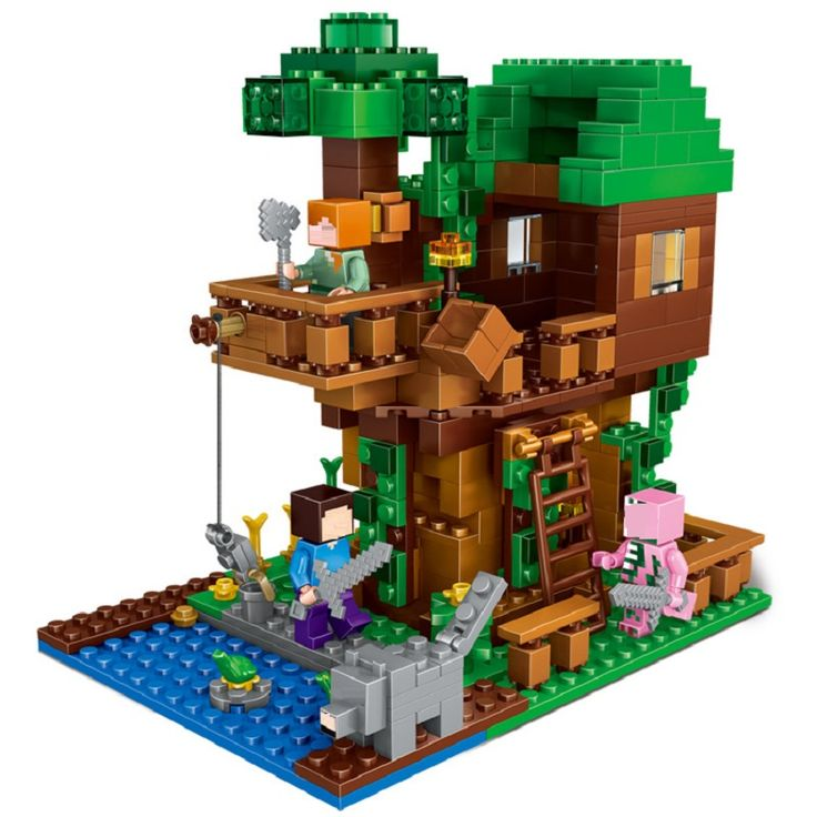 406Pcs Enlighten Mine World Minecrafted  The Tree House Building Blocks Brick My Craft Figures Kids Educational Toys