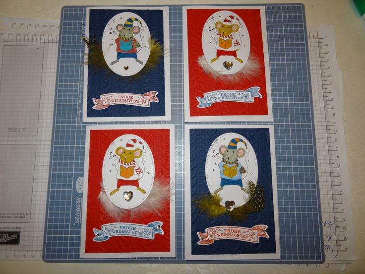 Stampin up SU Karte Weihnachten Weihnachtskarte flüsterweiß rot jeansblau Weihnacht Mäuseparade Mäuse Maus Weihnachtsmaus Framelits Federn
