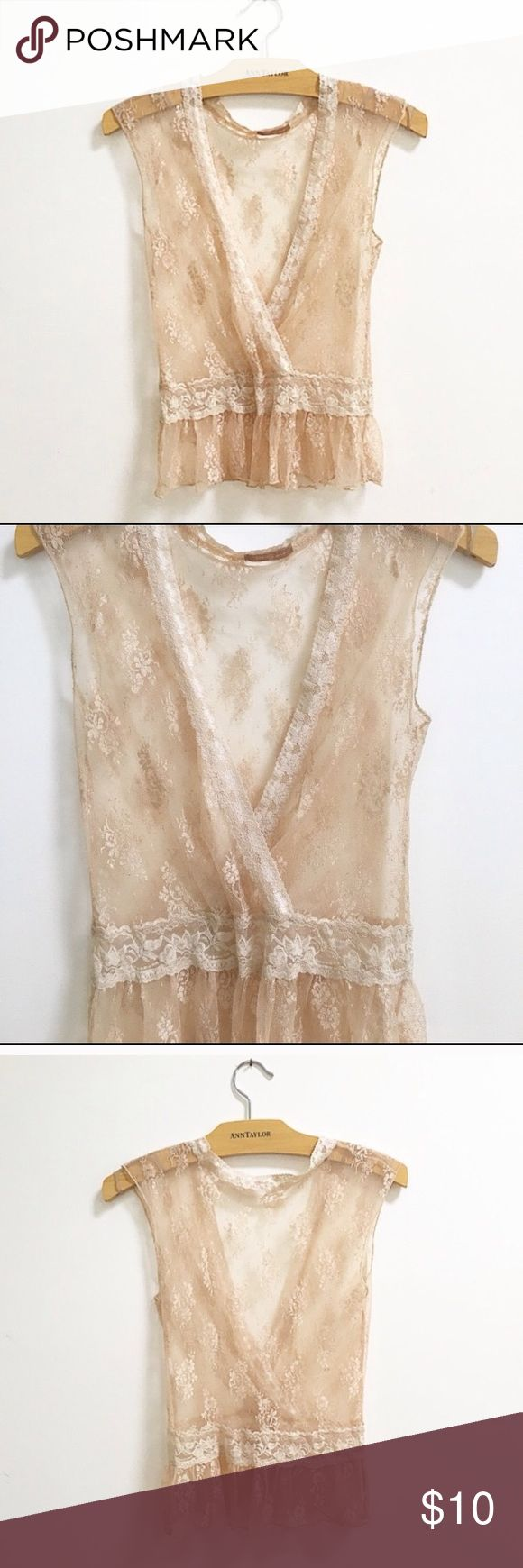 Forever 21 short sleeve lace top-S Forever 21 beautiful and feminine cream lace short sleeve top. This top would look good with a cardigan or jean jacket. Cute top for date night. Wear a nude bra and show a little skin or wear with a cami underneath. It would fit an XS or a small (true to size) that's not too busty. Unfortunately it didn't work for me. This is a reposh. In excellent condition-like new. Forever 21 Tops