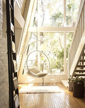 someday i will own a hanging bubble chair! And maybe a gorgeous a-frame house too.