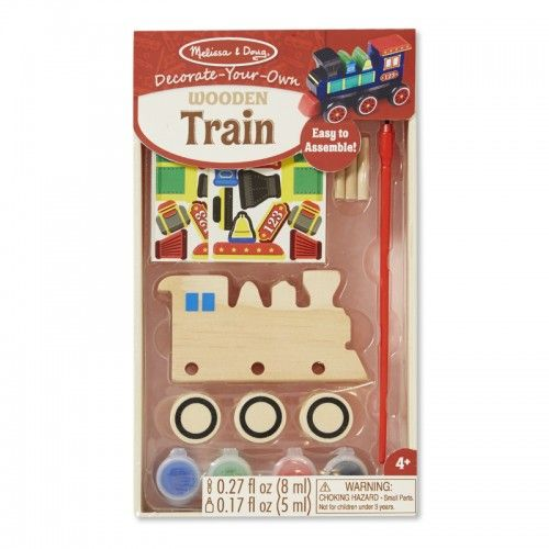 All aboard!  Little engineers will love making their very own train with this craft kit. It includes complete supplies to design and personalise a sturdy wooden train toy, including 6 wheels, 3 axles, 32 stickers, 4 pots of paint, a paint brush and glue- no tools needed!