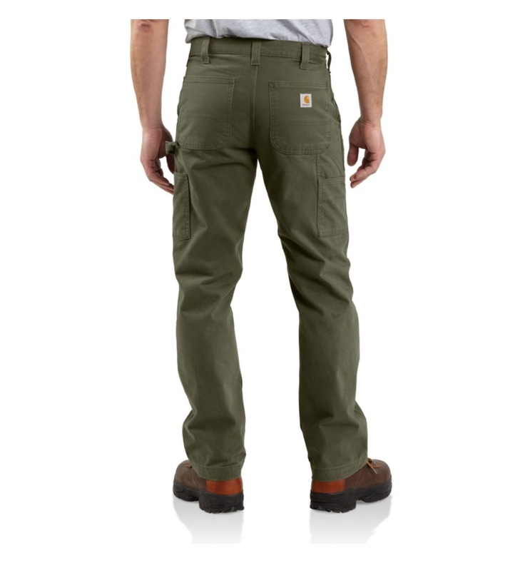 www.Carhartt.com  ... For a MAN wanting great fitting work pants that are classic check out ... the  Men's Washed Twill Dungaree - Relaxed Fit.  I LOVE THESE, though you, the Mrs., may defer ;)  www.Carhartt.com or www.Cabelas.com Retail for like $38