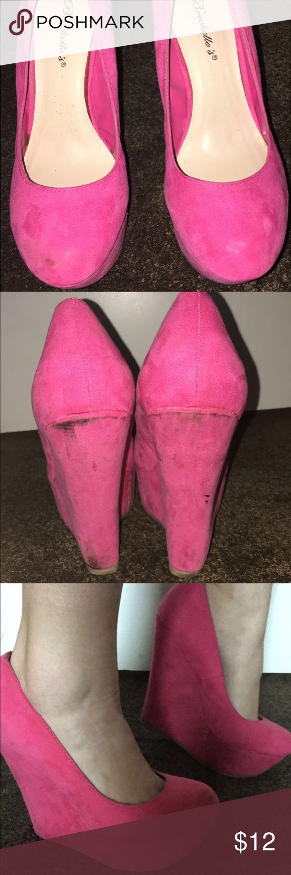 Cute hot pink wedges 💖 Barbie hot pink wedges, very comfortable about 5-6 inches high...perfect for any plain outfit for that pop of color, they are a little worn  with some damage on the side and back as you can see. Breckelles Shoes Wedges