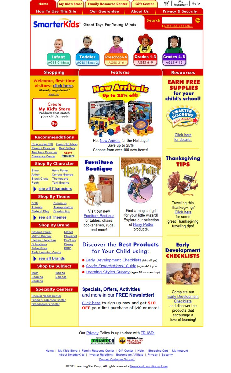SmarterKids website in 2001