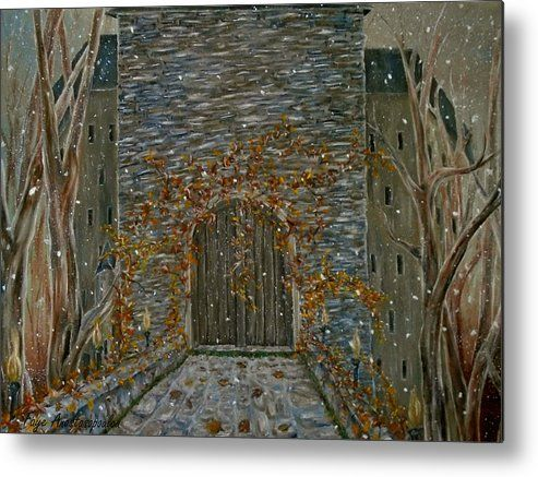 Metal print, painting, art, castle, entrance, door, old, building, gateway, stone, medieval, wall art, wall decor, decorative items, oldtimes, old world, earthly colors, eerie, whimsical, winter,fine art america,Eerie