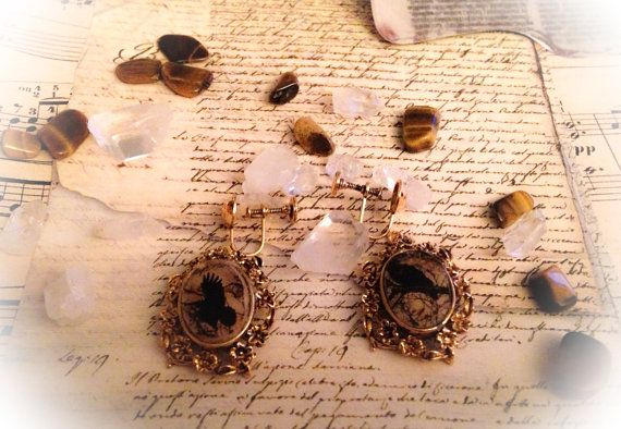 Earrings made from vintage brass findings by CrowsNestArtistry #vintage #earrings #wicca #handmade #etsy