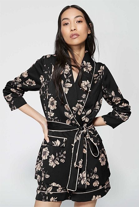 Piped Print Jacket