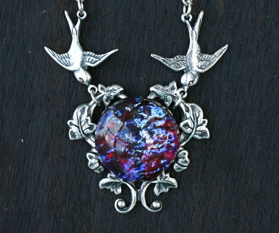 Fire Opal Necklace with Birds in Dragon Breath. $36.00, via Etsy.