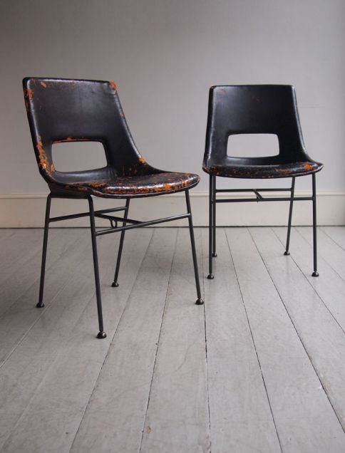 Anonymous; Enameled Metal and Leather Chairs by Armstrong Co., c1928.