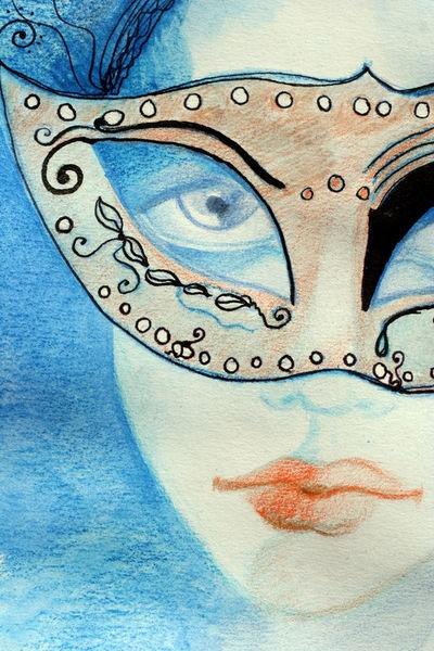 'Illustrated woman with a mask' by Helea-Andreea Pusta on artflakes.com as poster or art print $18.71