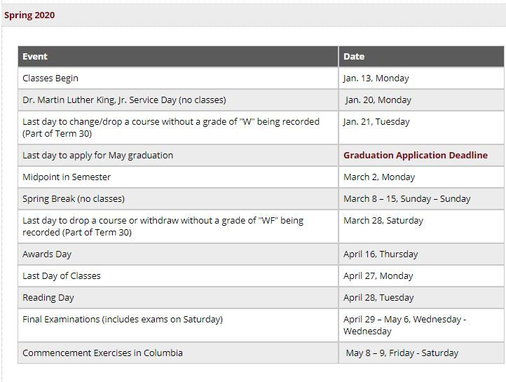 University Of South Carolina Academic Calendars Jpg Images