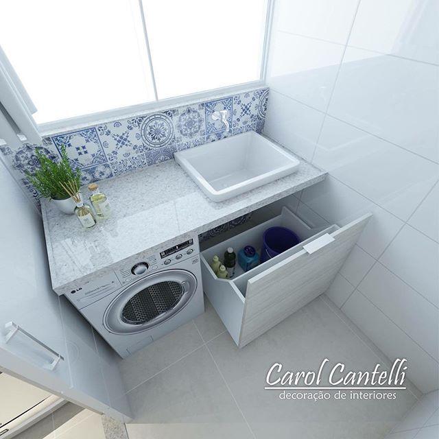 Apartamento Veredas {} Detalhe para o armário embutido em baixo do tanque, com rodinhas para facilitar acesso, super discreto e prático!
