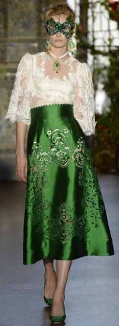 Dolce & Gabbana 2013. Some of the amazing looks from this collection, high waist embellished skirts with satin sheen, soft and feminine given that special flare with masquerade.