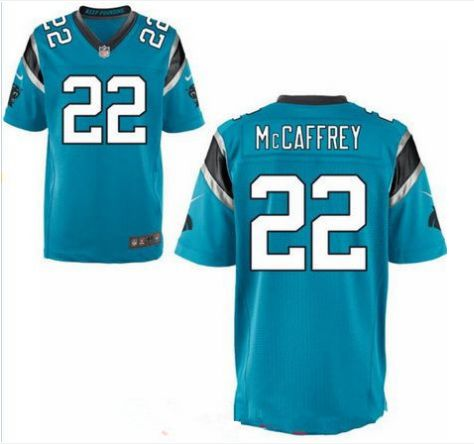 Men's Carolina Panthers #22 Christian McCaffrey Blue Nike NFL Elite Jersey.