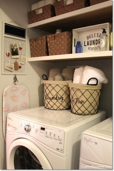 laundry closet at the Blue Cottage. Dagmar's Home DagmarBleasdale.com...cool bull item board