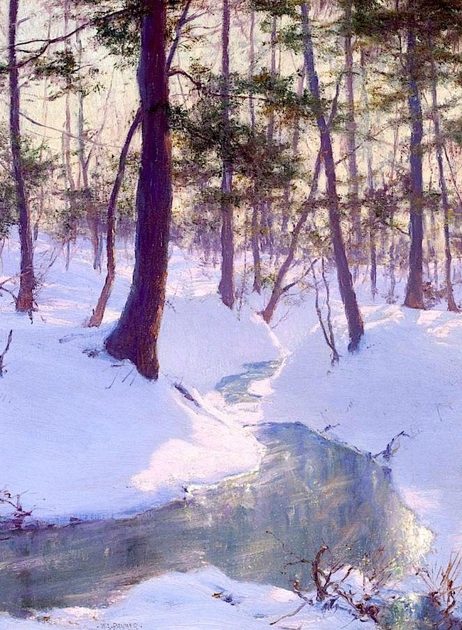 Walter Launt Palmer - Stream in Winter, Sunset