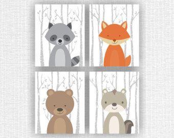 Guardería de animales del bosque para imprimir, zorro, oso, mapache, ardilla, juego de 4, 8 x 10, bosque animales guardería instantánea descargar