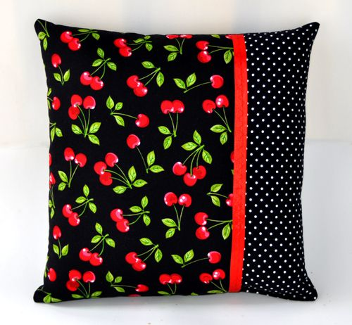 14x14 Cherries and Polka Dots Decorative Throw Pillow - Rockabilly Home Decor $13.45 from Sabbie's Purses and More