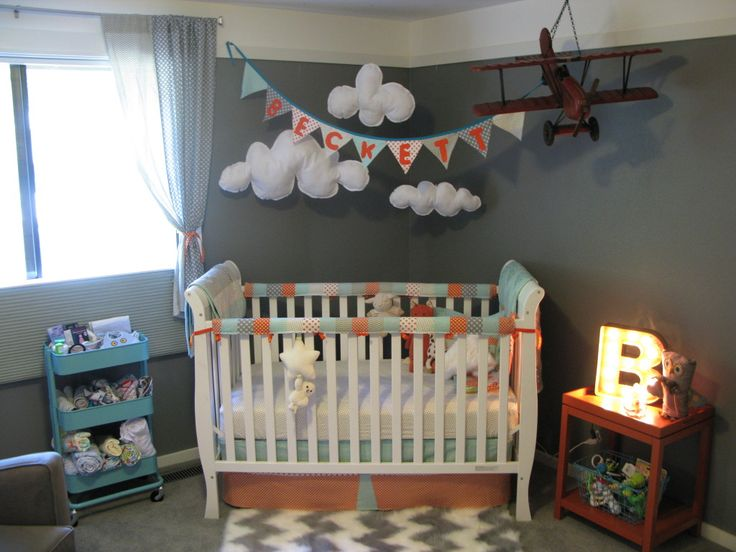 Vintage Airplane Baby Room - such a wow!Patchwork Cribs,  Cot, Cribs Railings, Projects Nurseries, Travel Nurseries, Baby, Vintage Travel, Theme Nurseries, Nurseries Ideas