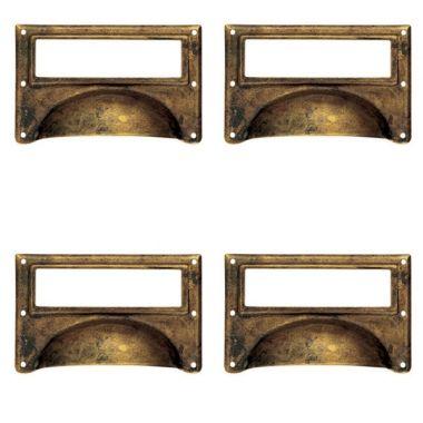 Lot de 4 poign es de porte ou tiroir de meuble en laiton for Portent une coquille