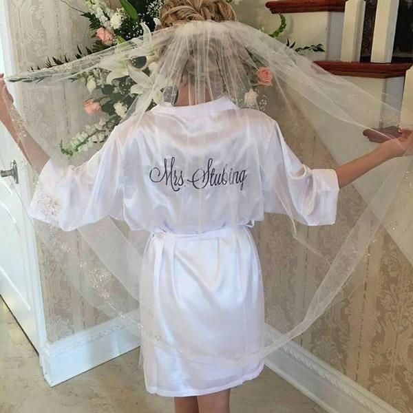 Beautiful bride robe, bridal robes. Perfect gift for bride or a bridal shower gift. Get them as bridesmaid gifts for your whole bridal party! Morning of the wedding