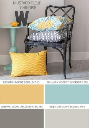 Greys and greens for guest bedroom as it is south facing, so nothing too warm.  Maybe yellow or orange accents