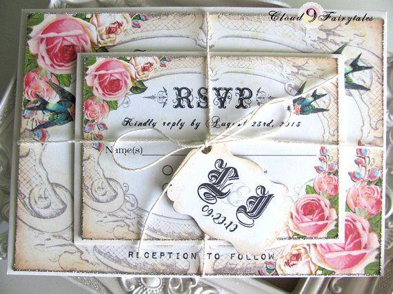 Handmade Wedding Invitations Vintage Garden Invites Invitation Suite Silver Glitter Edges and cottage roses