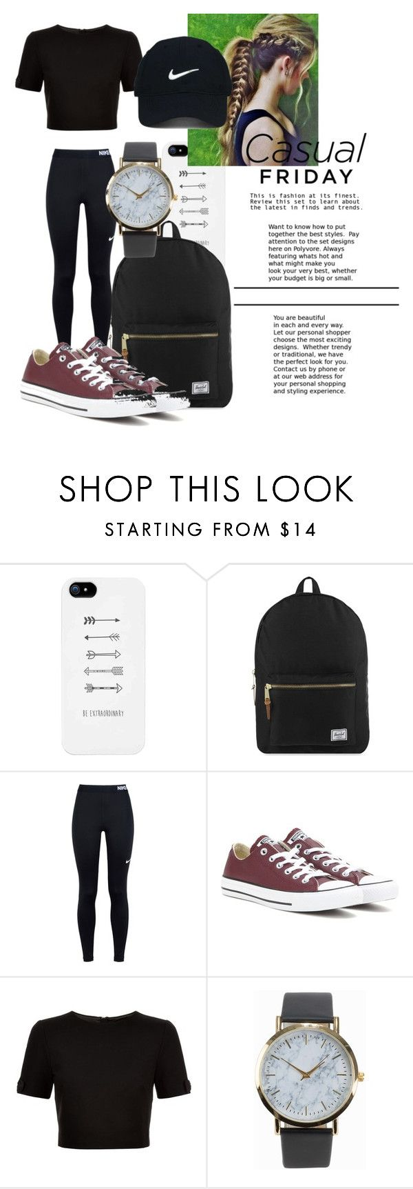 """Casual Friday"" by f-salvatore ❤ liked on Polyvore featuring Herschel Supply Co., NIKE, Converse, Ted Baker, NLY Accessories and Nike Golf"