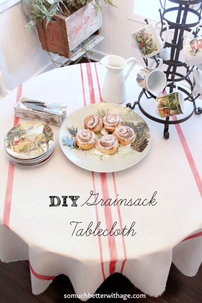 How To Make Your Own Grain Sack Tablecloth Using A Dropcloth and Paint