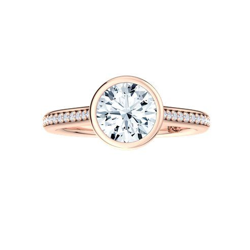 18k Rose Gold Brilliant cut bezel set engagement ring with 18 diamonds bead set to shank; 0.32 Carat Round Diamond Very Good Cut | I Color | SI2 Clarity