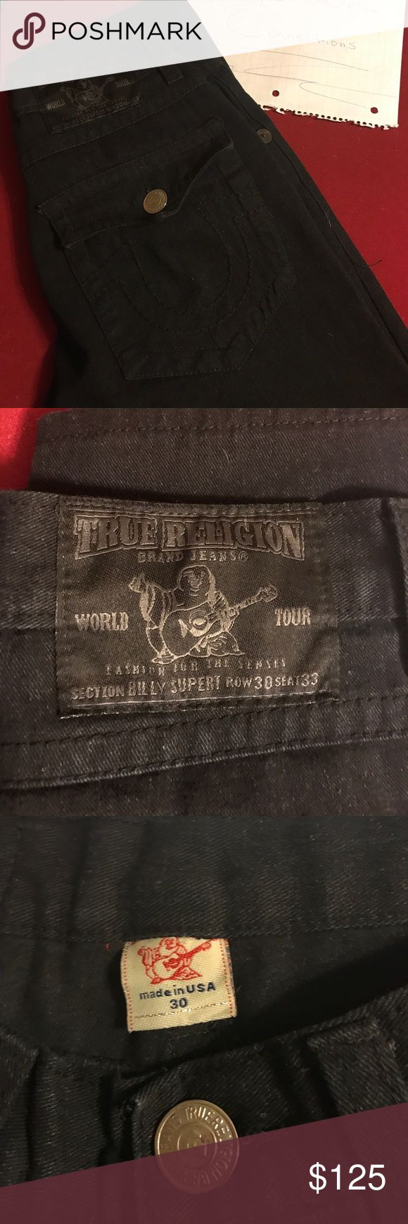 Brand new men's true religion jeans Brand new black on black double stitched men's jeans. Never worn size 30 waist 30 long True Religion Jeans Straight