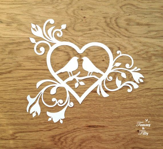 TEMPLATE 'Love Birds Heart' Papercutting by TommyandTillyDesign