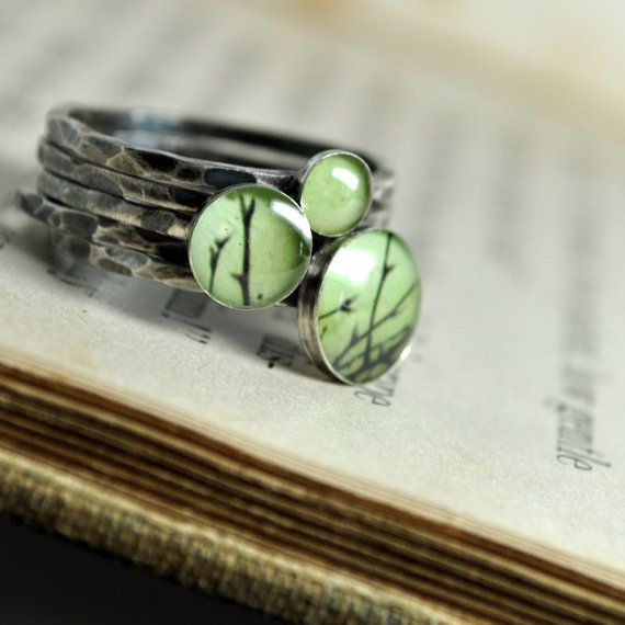 OLIVE. Sterling Silver Stacking RIngs set by CameraSHYphotography