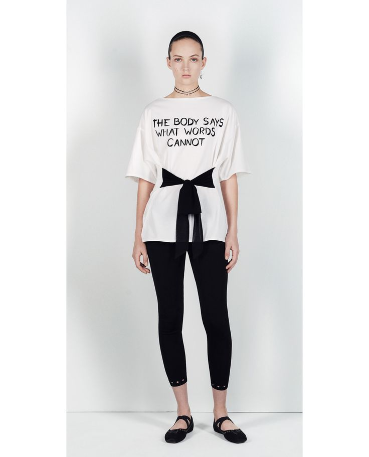 Image 1 of T-SHIRT WITH SLOGAN AND WAISTBAND from Zara