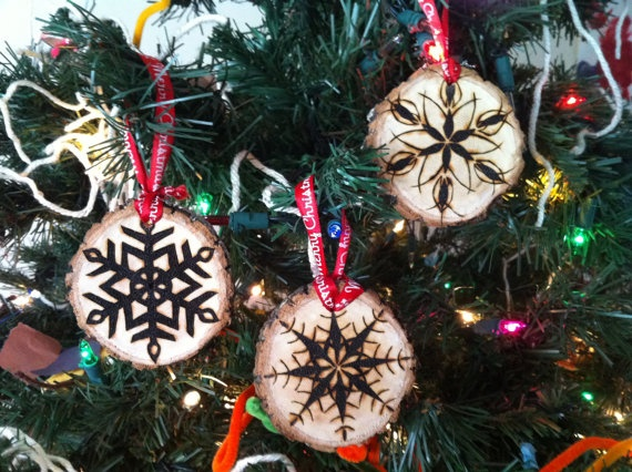 wood burned tree biscuit ornaments