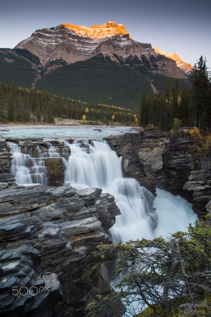 Waterfall Sunset - Athabasca Falls, Jasper National Park, AB I was pretty stoked to photograph three of my favourite subjects (waterfalls, mountains & sunset or rise) all in one shot.    Sunset at the always popular Athabasca Falls and Mount Kerkeslin on a fall evening, surprisingly there were only a few people around on this day.