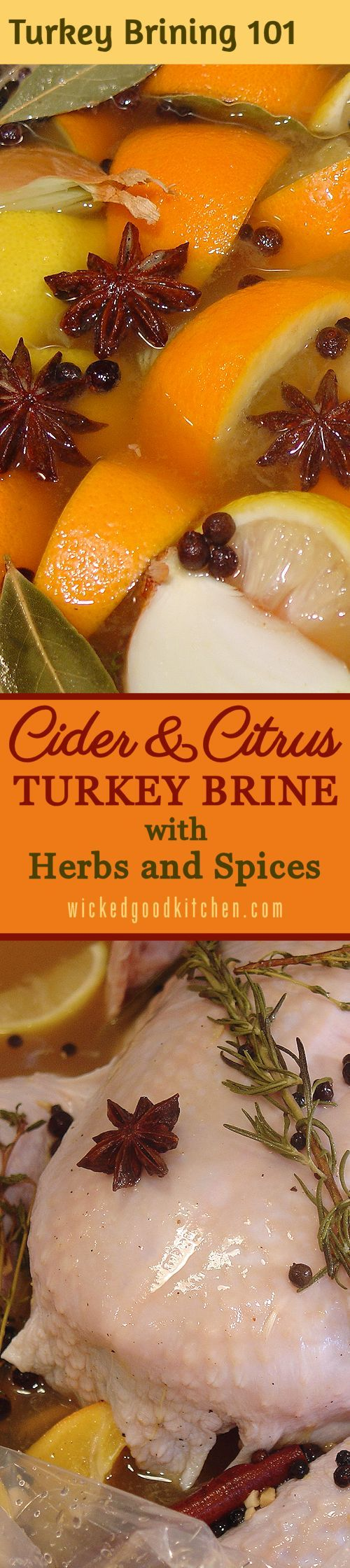 Cider & Citrus Turkey Brine with Herbs and Spices ~  An exceptional turkey brine consisting of both apple cider and citrus juices as well as herbs and spices with just the right amount of salt to ensure a tender, juicy roasted holiday turkey! Includes TURKEY BRINING 101: How-To Tutorial with Step-by-Step Photos & Tips. | #Christmas #Thanksgiving #Holidays diy recipe