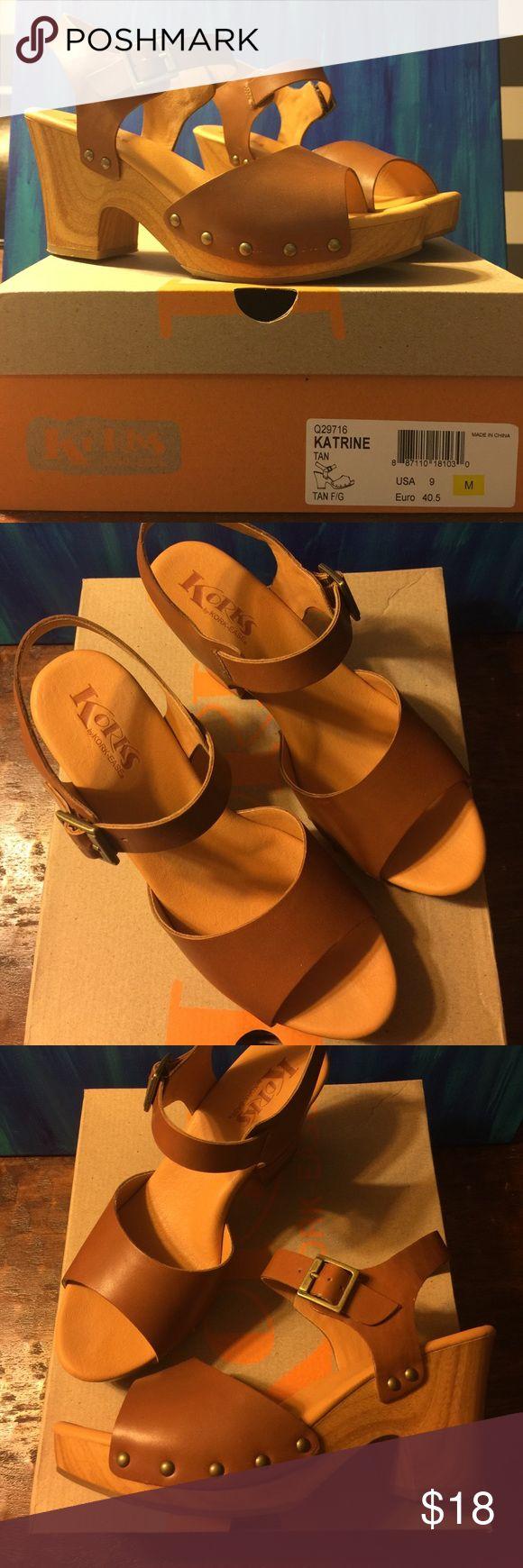 Korks by Kork-ease Tan Leather sandals Tan leather sandals..very comfortable!!  3inch heel, 1 inch platform.  Perfect summer sandal!! Korks Shoes Platforms