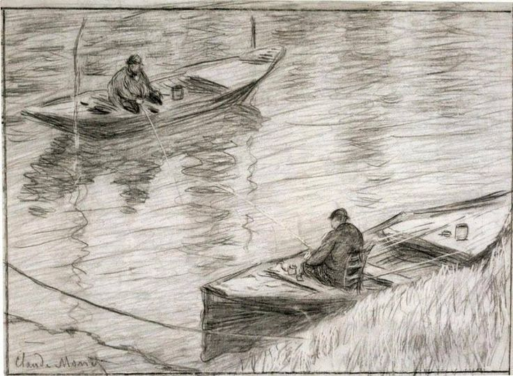 Claude Monet - Two Anglers, 1882. Black crayon and scratchwork on Gillot paper.