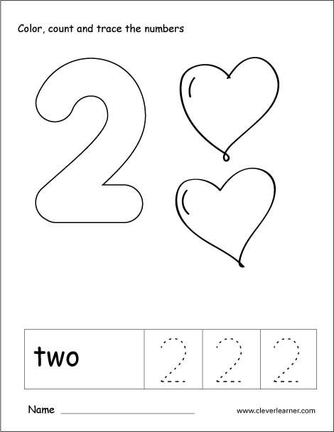 Number 2 tracing and colouring worksheet for kindergarten ...
