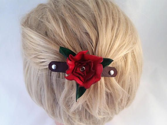 Hand Cut Red Leather flower - nickel plated french barrette - flower barrette - gift for her - hair fashion - hair barrette - hair accessory