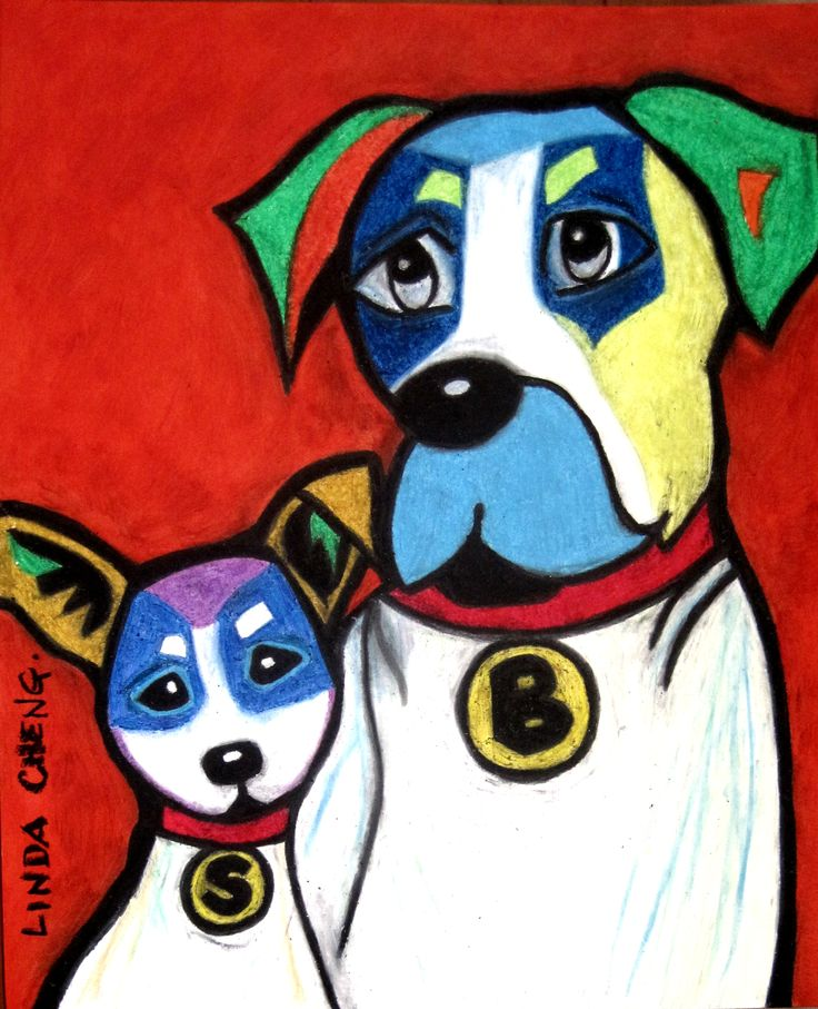 """Boomer and Senior 14""""x17"""" By Linda Cheng Categories: #retriever, #chihuahua, #dog, #dogs, #dogpopart, #dogs, #chihuahuadog, #retrieverdog, #retrieverpainting, #dogart, #chihuahuapainting, #chihuahuapainting, #DogPainting, #OilPainting, #ContemporaryArt, #ContemporaryPainting, #OilPastel, #ModernArt, #PopArt, #DogContemporaryPainting, #Animal Painting Official Site: www.linda-cheng.com"""