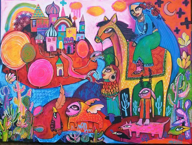 Ekodide and the Gypsy Caravan by Marita Albers from Rosebed Galleries