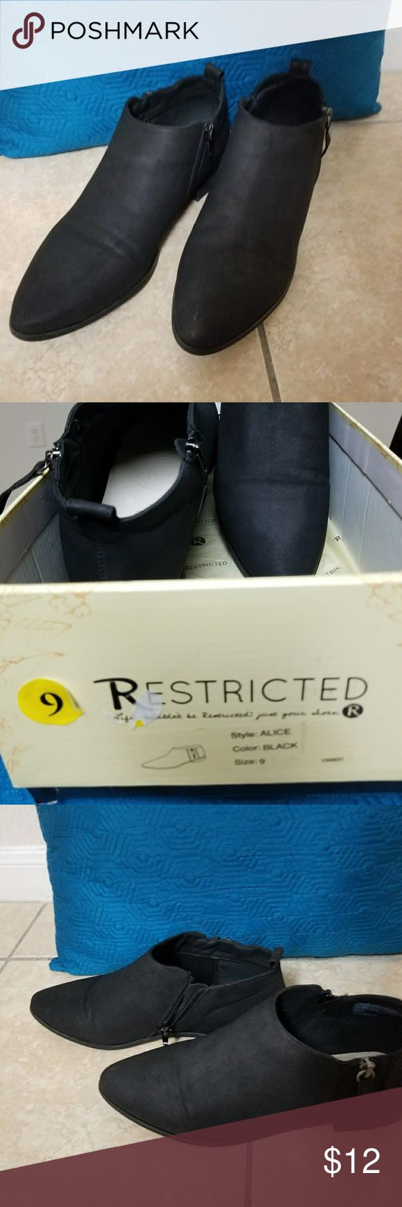 Restricted ankle booties size 9 Restricrted Black suede material   low top booties 2 zippers outter & inner sides (worn only 3 times ) low 1 inch heel. Restricted Shoes Ankle Boots & Booties