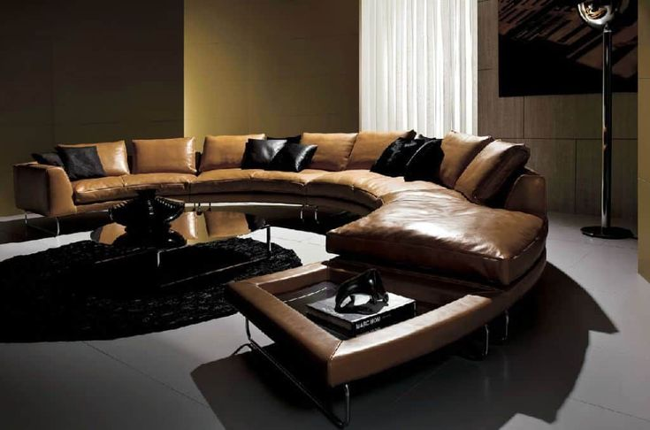 Living Room With Curved Contemporary Leather Sofa : Benefits Of Contemporary Leather Sofas
