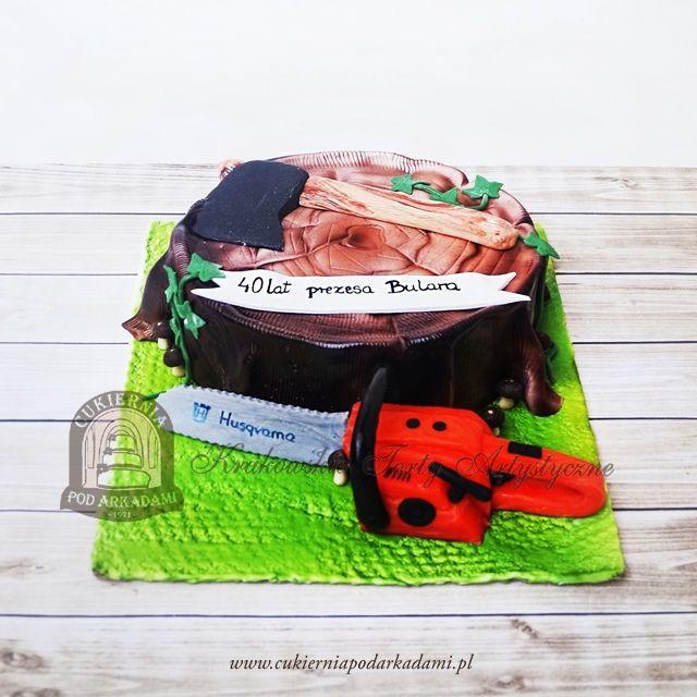 158BA Tort dla drwala z pniakiem, siekierą i piłą motorową. Lumberjack Cake.