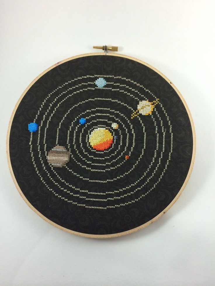 Solar System Circle Cross Stitch Pattern · Hugs are Fun · Online Store Powered by Storenvy