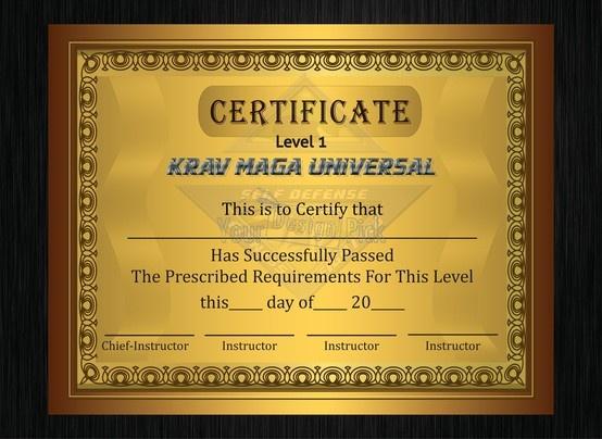 KRAV MAGA UNIVERSAL certificate from YourDesignPick